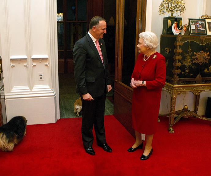 The Queen greets prime minister John Key at Windsor Castle in October, 2015.