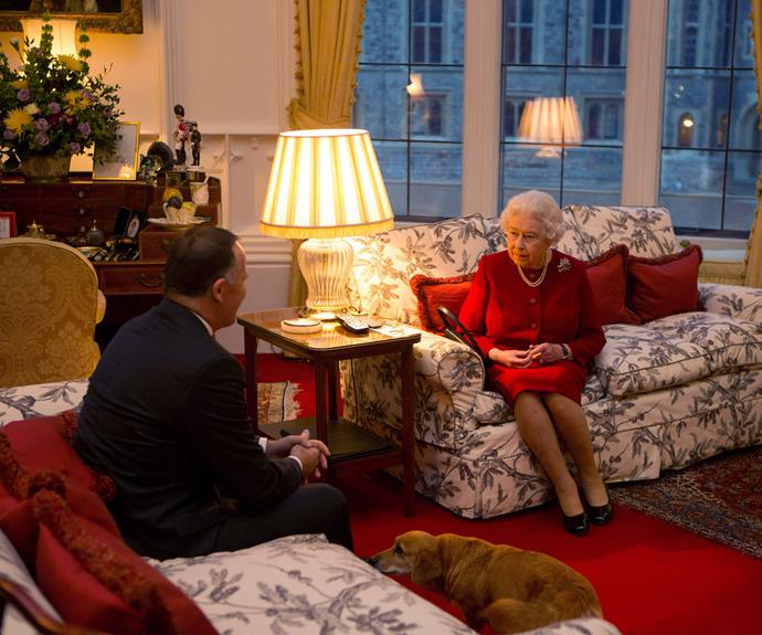 The Queen speaks with John Key during an audience held at Windsor Castle.