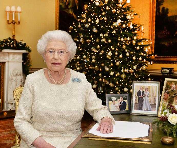 The Queen is pictured in the 18th Century Room at Buckingham Palace after recording her Christmas Day broadcast on December 25.