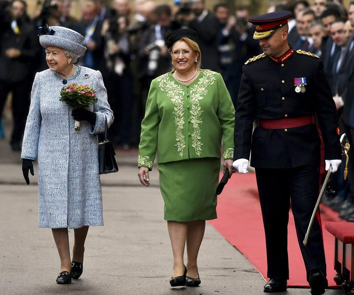 Queen Elizabeth II is greeted by Maltese President Marie Louise Coleiro as she arrives at San Anton Palace for the Commonwealth Heads of State Summit on November 26, 2015 in Malta.