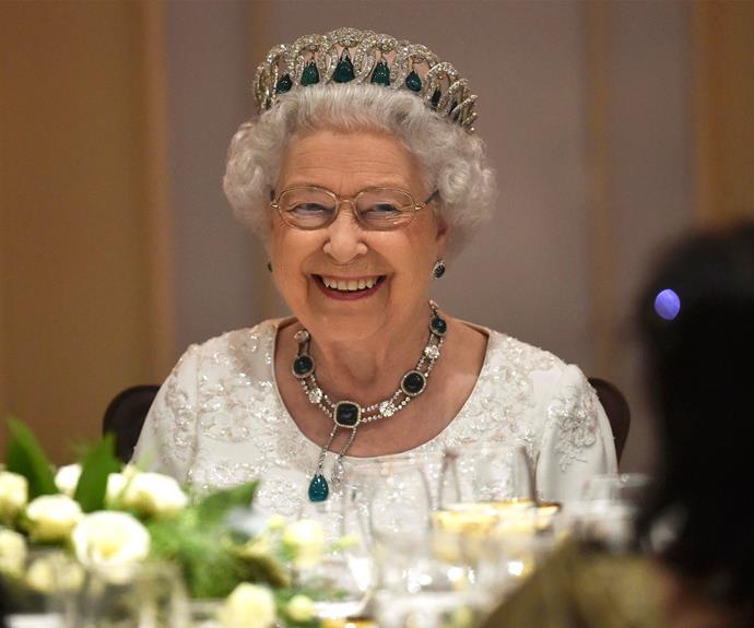Queen Elizabeth II attends a dinner during her tour of Malta in November, 2015.