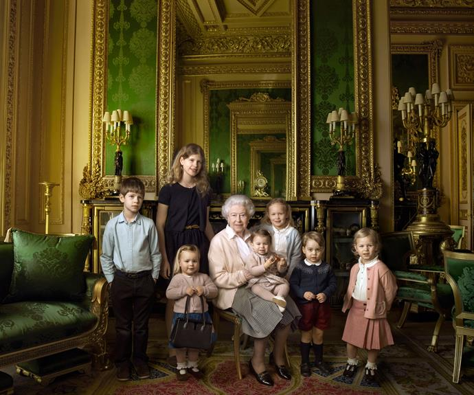 In all-new photos released to mark the Queen's 90th birthday, photographer Annie Leibovitz captures the royal and her family at home. Here, the Queen is pictured with several of her grandchildren and great-grandchildren.