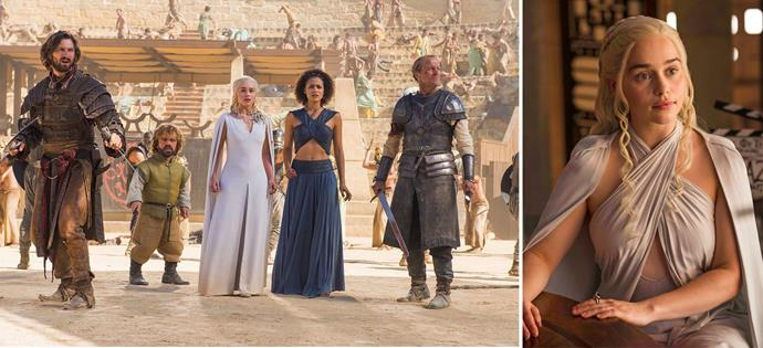 Left: Emilia with her co-stars on *Game of Thrones*. Right: In character as Daenerys Targaryen.