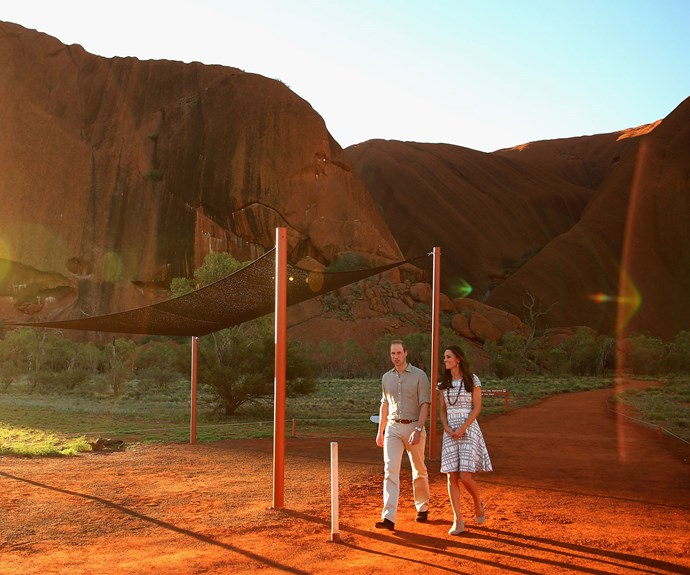 April 2014: Kate and William are pictured taking a stroll around Ayers Rock in Australia.