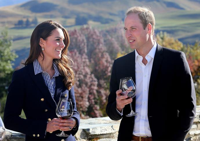 April 2014: Kate and William sample Otago wine during their tour of New Zealand in 2014.