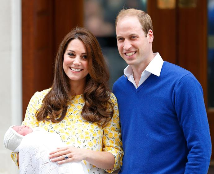 May 2015: The ecstatic parents pose for photos with their newborn daughter, Princess Charlotte, after her birth.