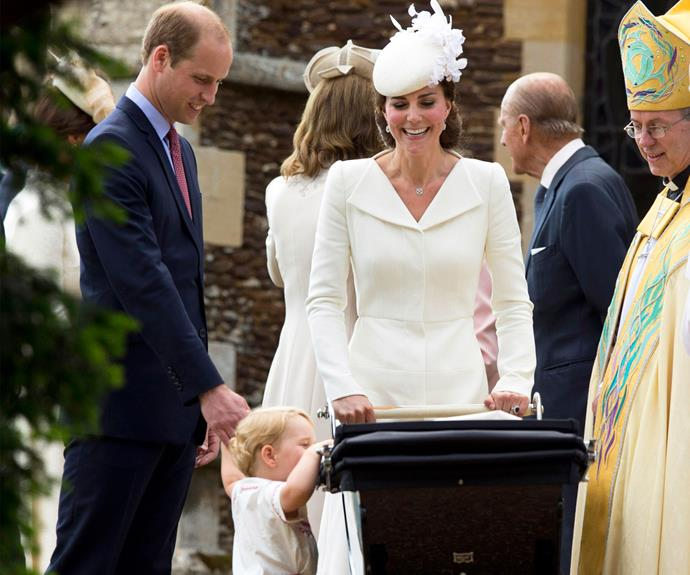 Prince George wanted to get a better look of his little sister on her big day. Photo: Getty