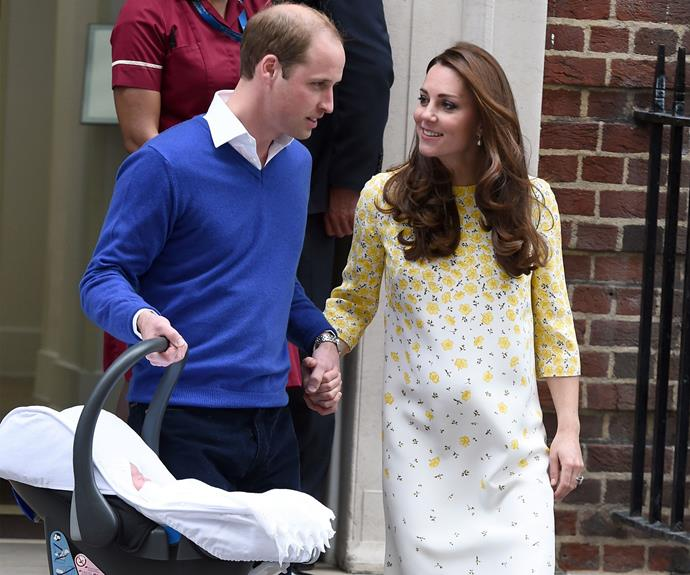 William and Kate left the Lindo Wing at St. Mary's Hospital with their newborn baby daughter. Photo: Getty