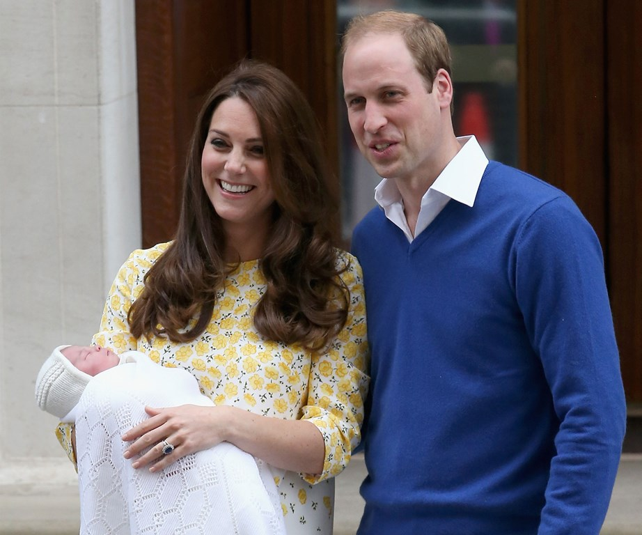 Just hours after her birth on May 2, 2015 we got our very first glimpse of the newborn princess, with her parents the Duke and Duchess of Cambridge posing on the steps outside the hospital where she was born. *(Image: Getty)*