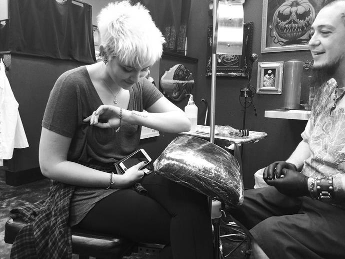 "Three weeks ago Paris also revealed she had a quote from her late father Michael Jackson inked on her arm saying, ""Queen of my heart."" The 18 year-old wrote: ""To everyone else he was the King of Pop. To me, well, he was the king of my heart."""