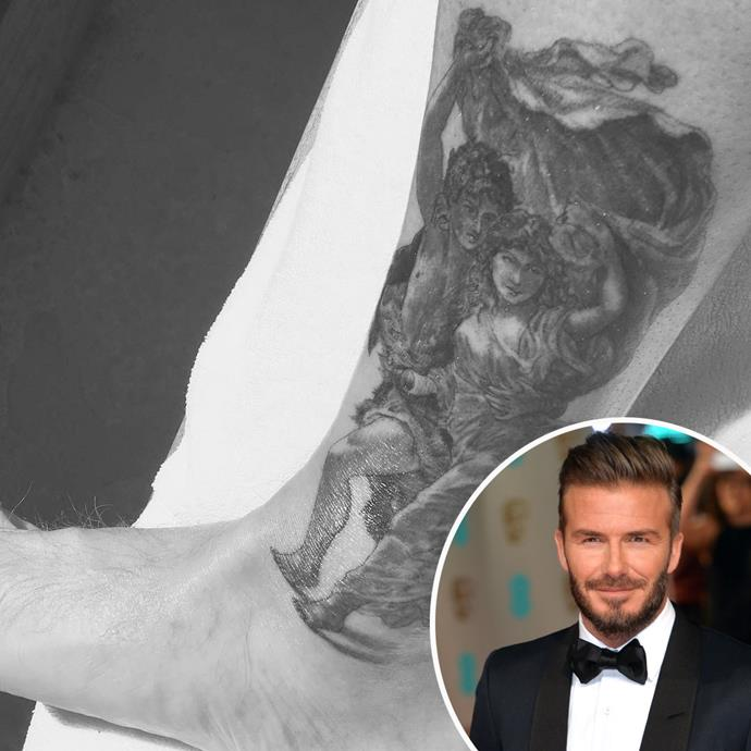 David Beckham's extensive collection of tattoos is well-known, but at the end of March he shared this glimpse of a new tattoo inked on his ankle by celeb-fave tattoo parlour Shamrock Social Club in Hollywood.