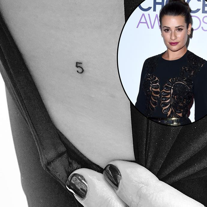 Lea Michele got this touching '5' tattoo as a tribute to her late boyfriend and *Glee* co-star Cory Monteith, whose character Finn wore the number 5 jersey in his role as high school quarterback.