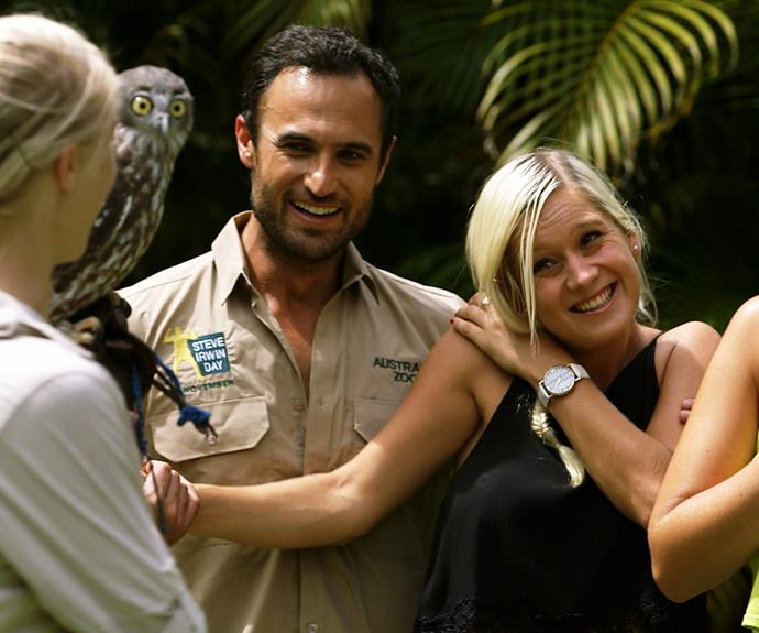 The couple can have a laugh too - here, they get up close with some of the residents at Australia Zoo.