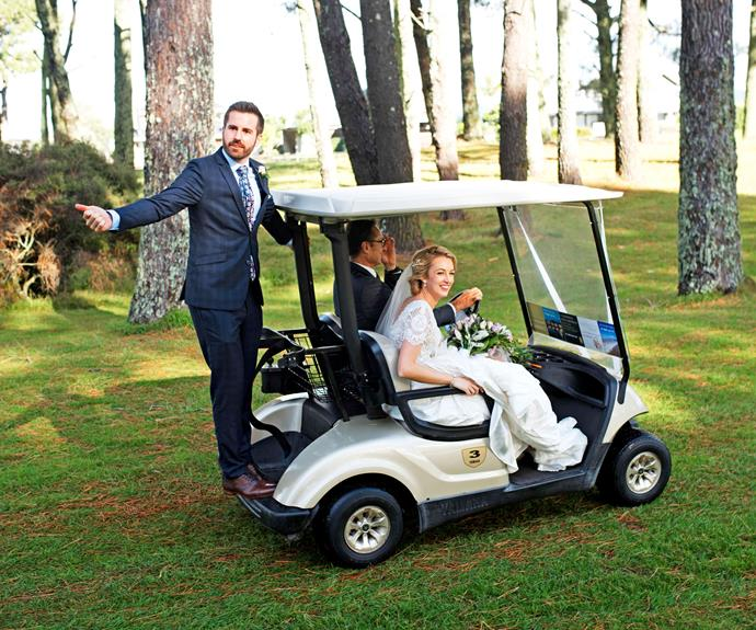Just before their ceremony, the sun decides to make a timely appearance. Soon afterwards, so does Janika – in a golf cart.