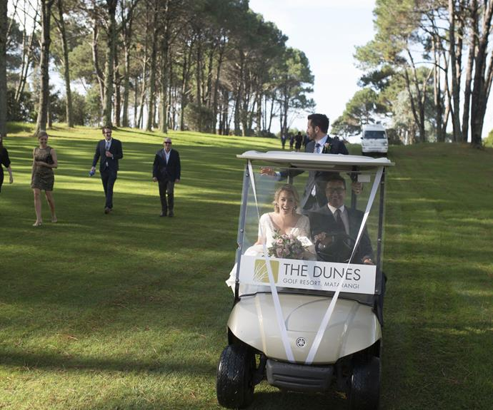 Janika makes her way through the golf course in style.