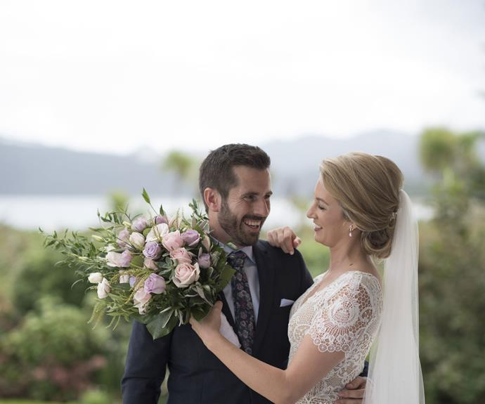 """""""It was the moment I had thought about so much and it was even more perfect than I had imagined. I was overwhelmed by it, but when she got out of the cart with a huge smile on her face, my tears went away,"""" Ross says of fighting back tears at the sight of his bride."""