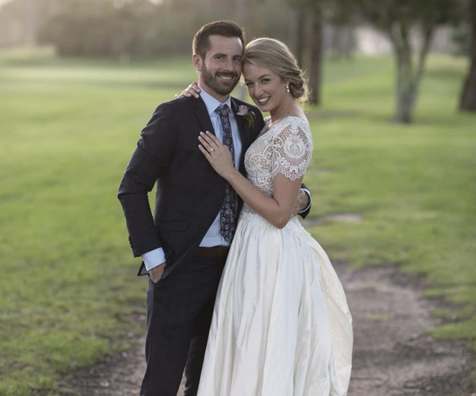 Janika - looking stunning in a lace and silk dupion Vinka Design gown - can't believe her luck at finding Mr Right in Ross.
