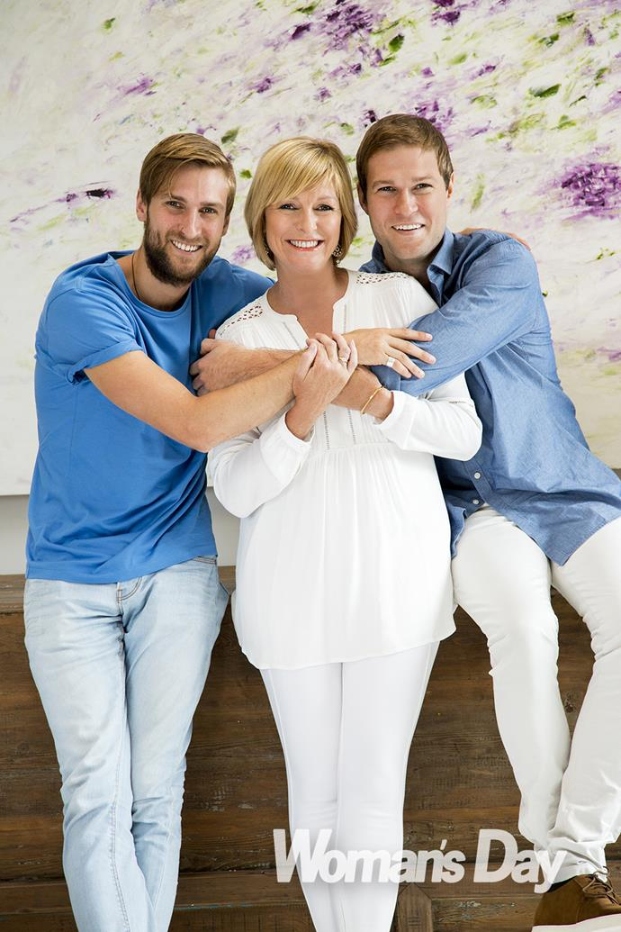 Broadcaster Susan Wood with her sons Matt and Alex.