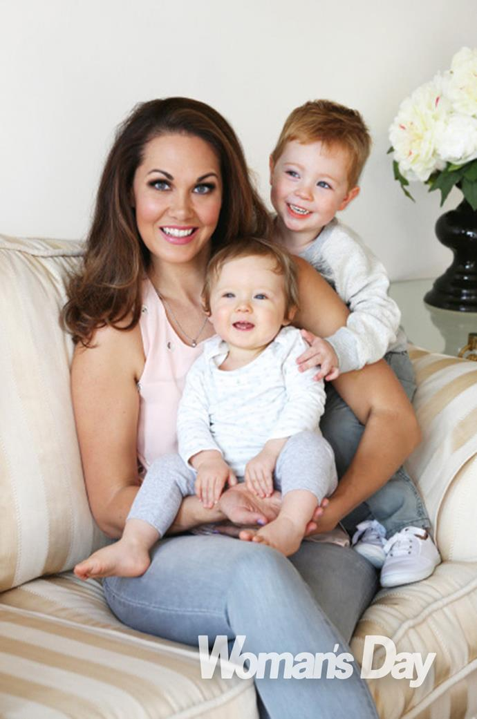 TVNZ weather presenter Renee Wright with her two bundles of joy, Leo and Giselle. Renee also welcomed a third child, a daughter, earlier this year.