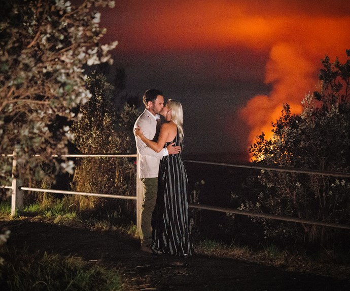 Fleur and Jordan share a red-hot romantic kiss near a volcano during the group's getaway to Hawaii.