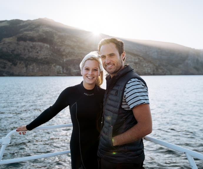Jordan and Fleur are pictured before swimming with dolphins during one of their romantic single dates.