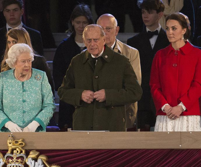 Queen Elizabeth, Prince Philip and Duchess Catherine view the celebrations for the Queen's birthday.
