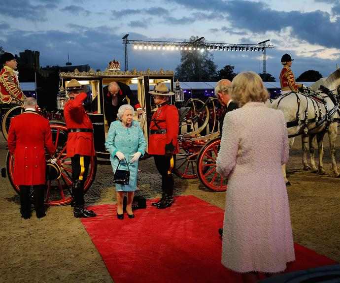 Prince Charles and the Duchess of Cornwall greet the Queen as she arrives at the final night of her birthday celebrations at Windsor Castle. Photo: Getty