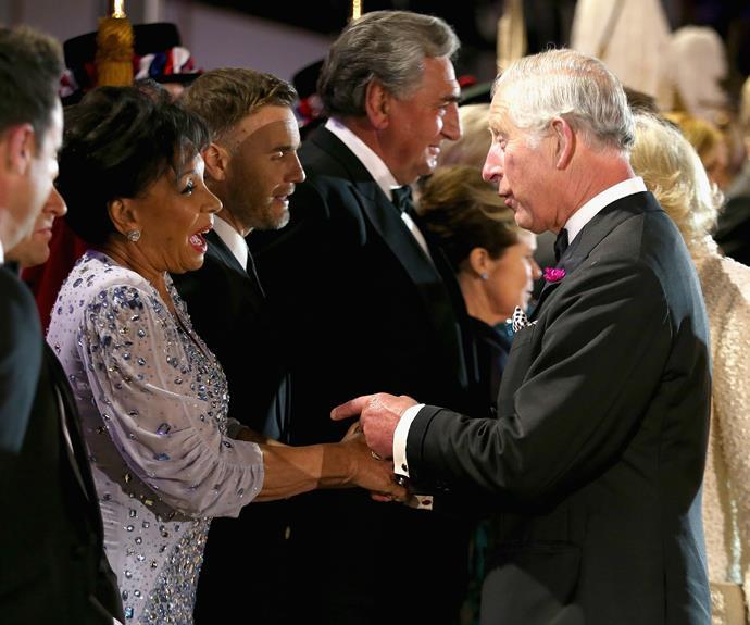 Prince Charles greets Dame Shirley Bassey. Photo: Getty