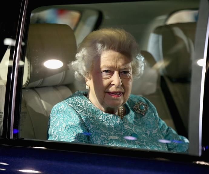 The Queen was outfitted in an elegant Angela Kelly ensemble for her special night. Photo: Getty