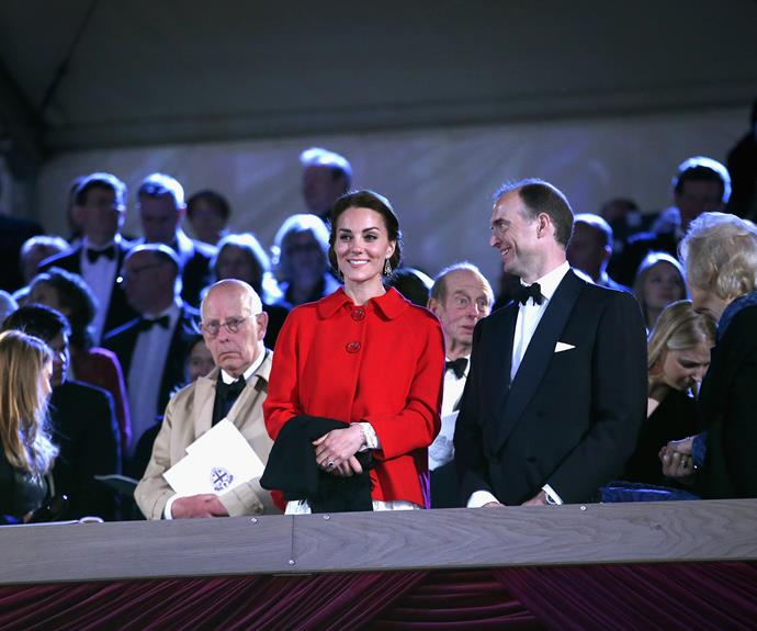 The Duchess wore a lace Dolce & Gabbana dress for the occasion, paired with a bright red Zara jacket.