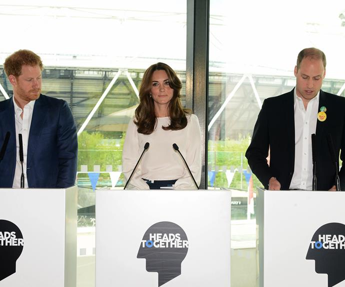 The trio also delivered a speech at the launch, where they spoke about the importance of changing the conversation around mental health. Photo: Getty