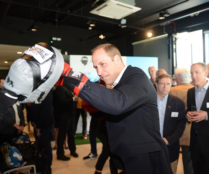 Prince William also got a turn to duke it out. Photo: Getty