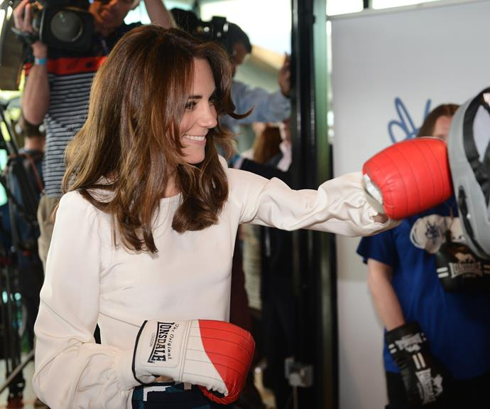 The royal looked to be having plenty of fun as she sparred with Duke. Photo: Getty