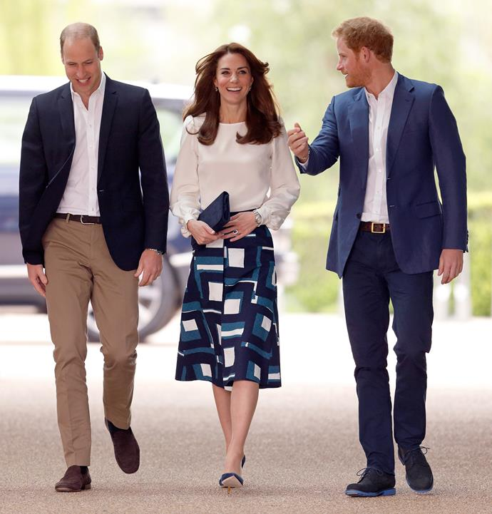 Kate was dressed up for the occasion in a printed Banana Republic skirt and white blouse by London brand Goat. Photo: Getty