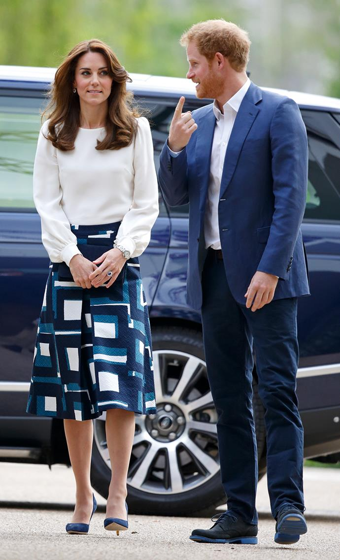 Duchess Catherine and Prince Harry are pictured arriving at the Heads Together launch at Queen Elizabeth Olympic Park. Photo: Getty