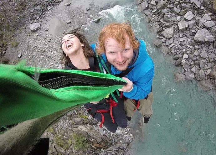 Ed Sheeran takes the plunge in Queenstown. Photo: Facebook