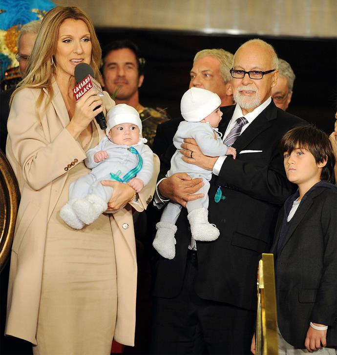 Celine pictured with Rene and her sons, Rene-Charles and twins Nelson and Eddy. Photo: Getty