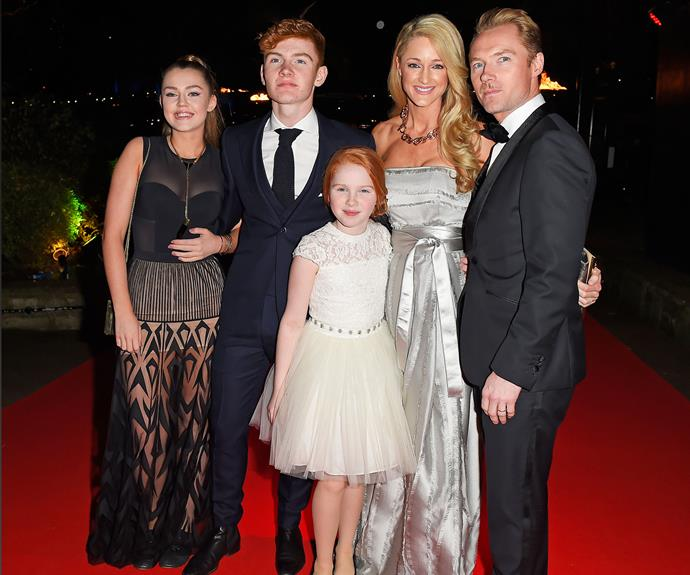"Ronan and Storm with his ""incredible kids"" (from left) Missy, Jack and Ali."