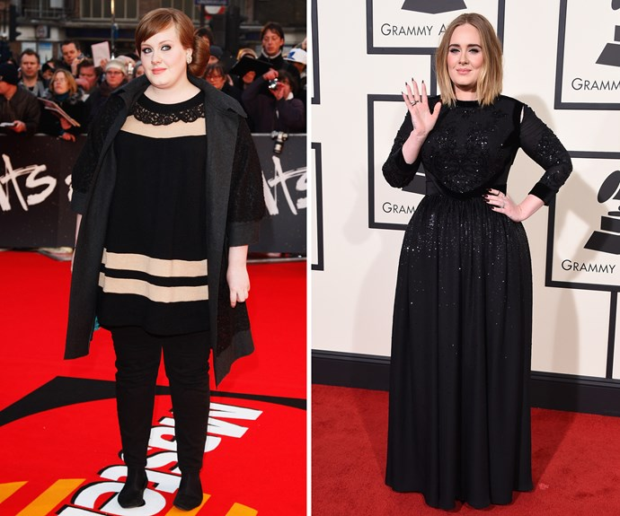 """Adele debuted a new, slimmer look along with her musical comeback last year. The British songstress revealed she cut out alcohol, cigarettes and caffeine and """"spicy, citrusy and tangy"""" foods in an effort to protect her voice as well as her health."""