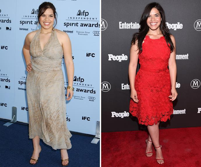 """Gorgeous star America Ferrera rose to fame as the lead on TV's *Ugly Betty*, but since then the actress has debuted a slimmed down figure. America is all about positive body image, however, telling [*Glamour*]( http://www.glamour.com/story/america-ferrera#ixzz1Z5P7y2Rc