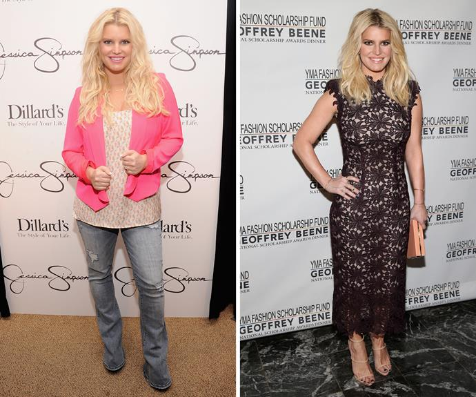 """After welcoming son Ace in 2013, Jessica Simpson has been focusing on losing weight the healthy way. The Weight Watchers spokeswoman says she focused on staying active throughout her second pregnancy, telling [*Us*]( http://www.usmagazine.com/celebrity-body/news/jessica-simpsons-legs-are-superhot-and-she-knows-it-photo-w205564