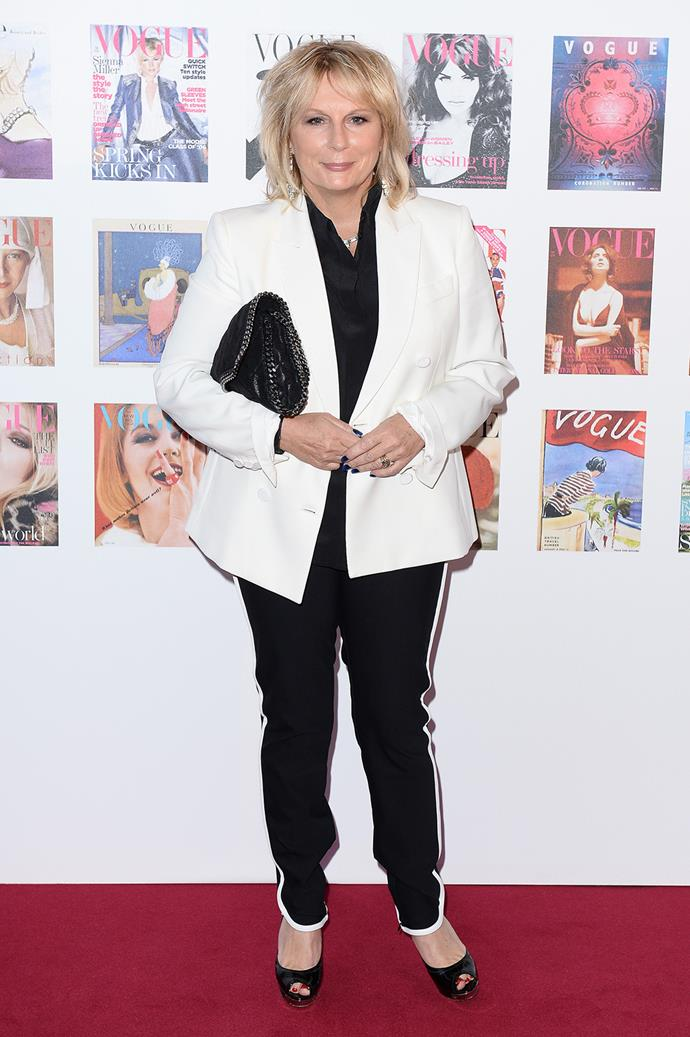 Jennifer Saunders ditched the gown for a trouser suit.