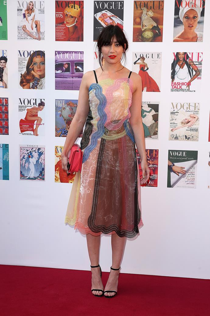 Daisy Lowe's outfit was a multi-coloured dream.