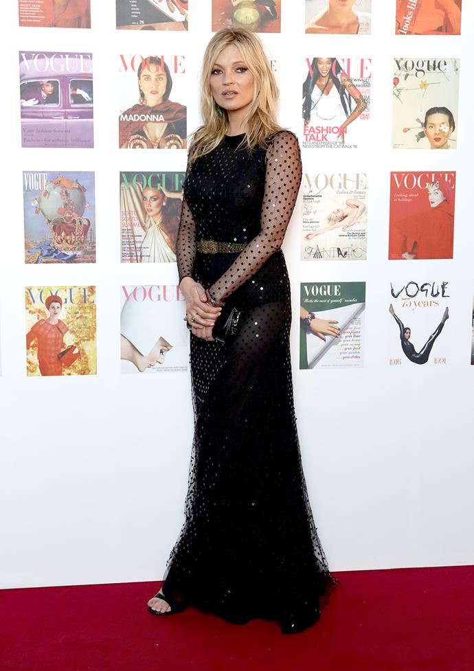 Kate Moss went for this beautiful floor length gown with lace detail.