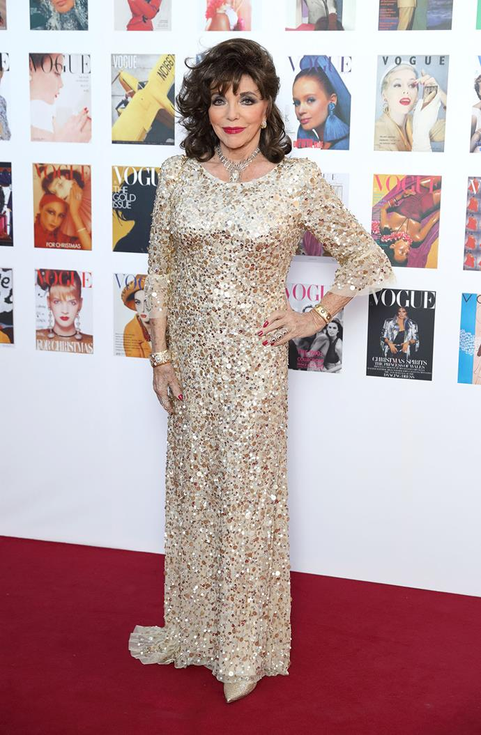 Joan Collins shimmered as she attended the event.