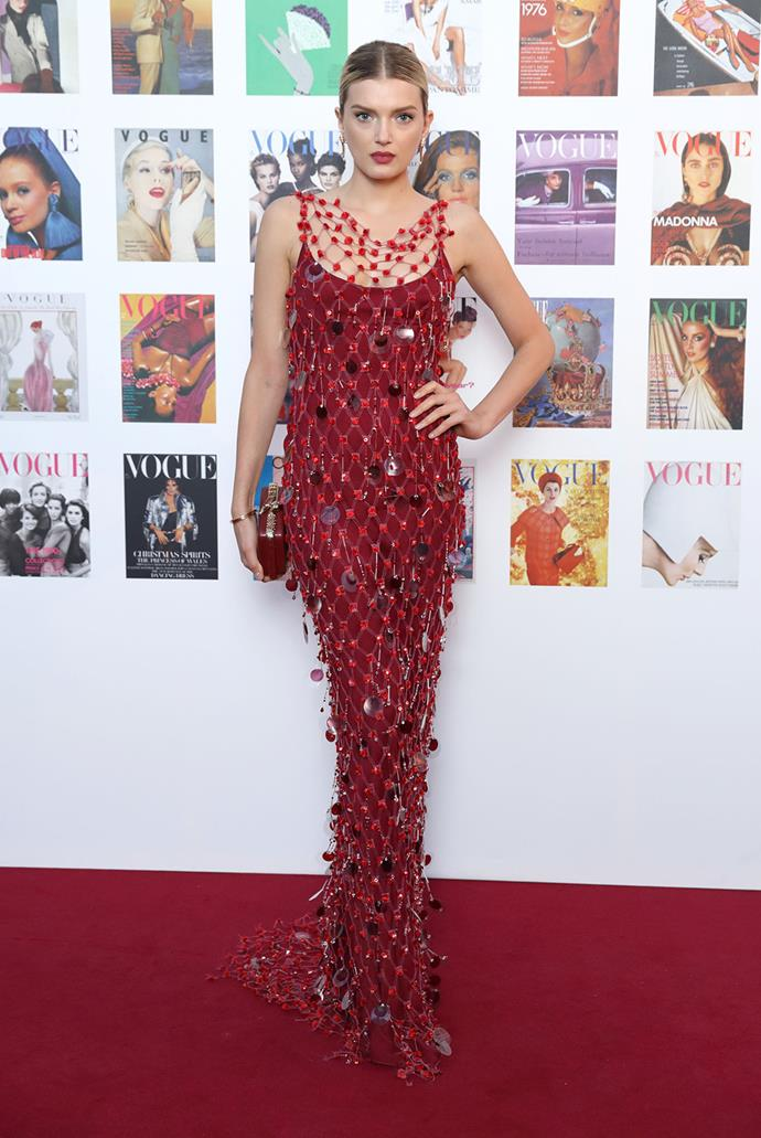 Lily Donaldson went bold in red.