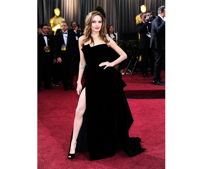 Angelina's look at the 84th Academy Awards was stunning and classic. And that leg pose hit headlines round the world.