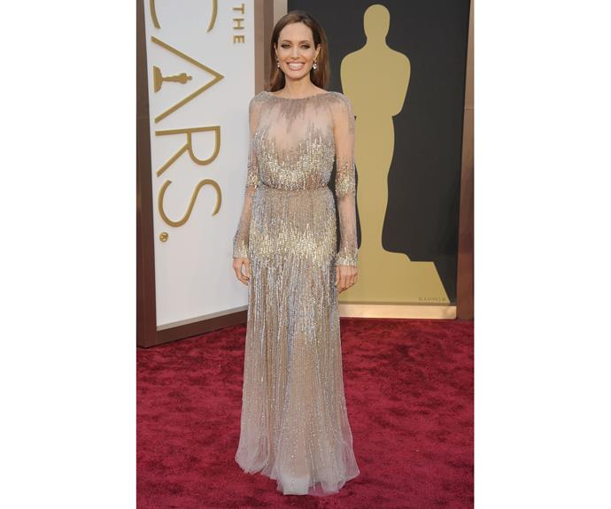 At the 86th Annual Academy Awards in 2014, we see the sparkling, demure Angelina we know and love today.