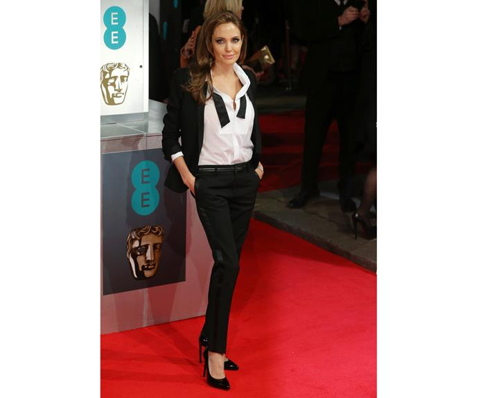 In a suit at the EE British Academy Film Awards in 2014, Angelina Jolie is all grown up, rocking a sophisticated suit.