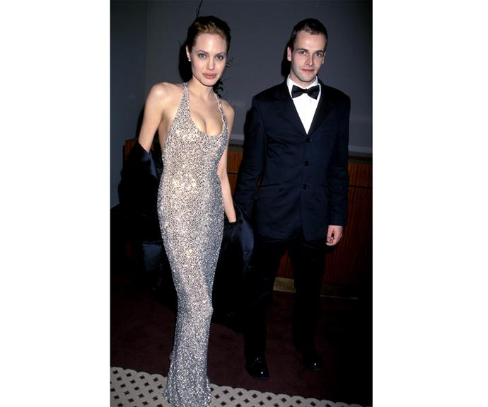 Ange was looking gorgeous with Jonny Lee Miller at the Golden Globe After Party in 1999.